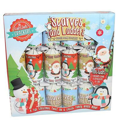 Christmas 6 Pack Family Game Table Crackers - Scarves & Ladders