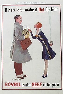 OLD VINTAGE ADVERT BOVRIL BEEF DRINK COMICAL ART DECO  c1927 by H HARRIS
