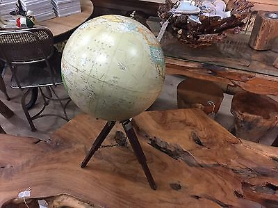 Vintage Retro Classic World Paper Globe On Tripod Stand Europe Asia Brown