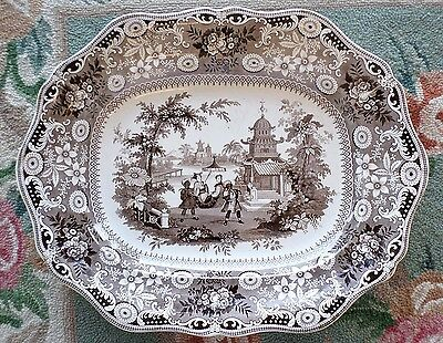 """19"""" Staffordshire Chinese Pastime Platter Transferware 1820-1860 Antique Pottery"""