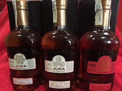 Whisky Jura Elements , Water (1989),Air (1993),Fire (1998)  Limited Edition