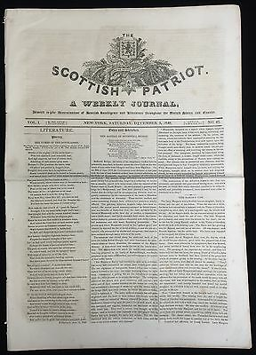 THE SCOTTISH PATRIOT v1 #42 Dec.1840 NYC , fire-fighting, earthquake, ship ads