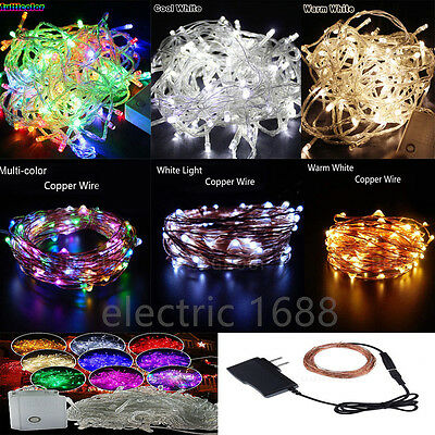 Electric Plug LED String Lights wedding christmas copper wire Cord Fairy Decor