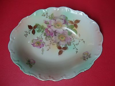 Vintage Schumann Arzberg Germany Bowl with Rose Pattern and Gold Trim - 36