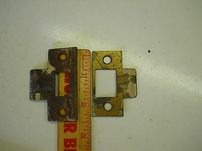 antique  2 STEEL DOOR KNOB LOCK STRIKE PLATE OLD