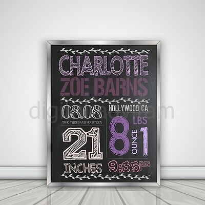 Custom Personalized Chalkboard Baby Birth Announcement Card Photo Girl Pink