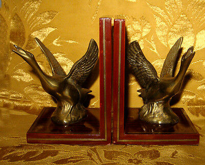 VINTAGE LACQUERED WOOD and BRASS SWANS / GEESE BOOKENDS