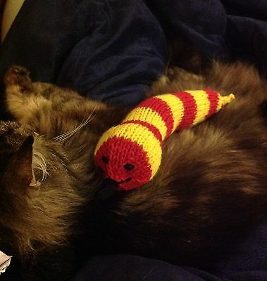 Hand Knitted Catnip Snake - Sold 4 Whinnybank Cats + Free Baby Mouse.