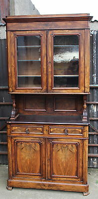 A Large C19th French Walnut Bookcase Display Cabinet Hall Cupboard