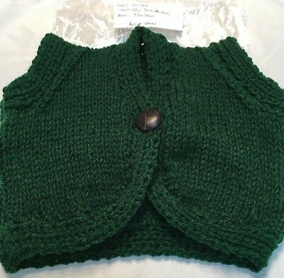 Girls waistcoat-Hand Knitted-Bottle Green-22-24inches(56-61cm)