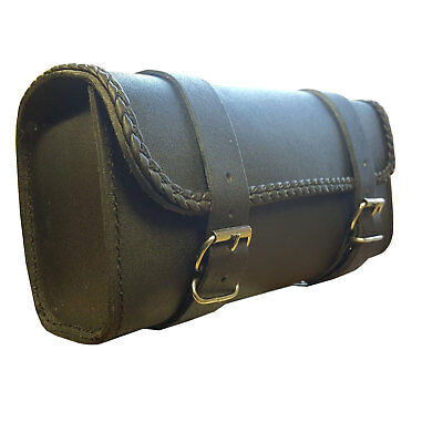 Motorcycle Cruiser Leather Tool Bag Fork Barrel Shape Handlebar Front Fork bag
