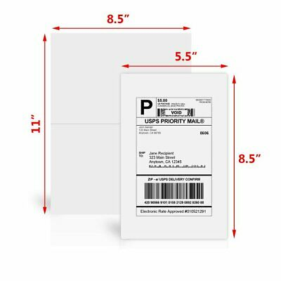 400 Half Sheet Shipping Labels 8.5 x 5.5 Self Adhesive 2 Per Sheet - USPS Paypal