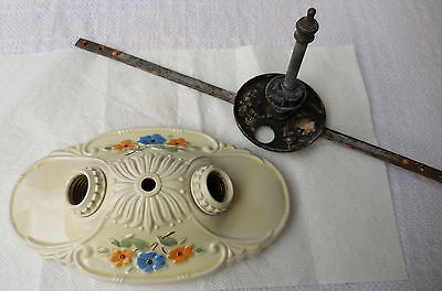 Vtg PORCELIER Porcelain Flush Mount Ceiling Light 2 Bulb Ivory Floral w/Bracket