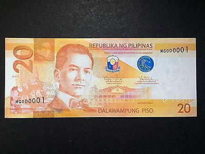 Philippines 20 Pesos NGC 2015A First Serial (MG000001)