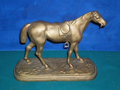 "Vintage Antique ANSONIA 1023 Clock Co cast bronze metal HORSE 8"" long 7"" tall"