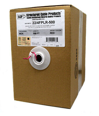 22/4 FPLR Solid Red Riser Power Limited Fire Wire Security Alarm CL2R  500 FT