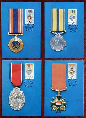 South Africa (RSA) 1984 'Military Decorations' Set of 4 Maximum (Maxi) Cards
