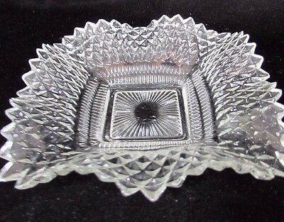 Vintage Diamond Pattern Scalloped Ruffled Edged Square Candy Nut Dish Indiana