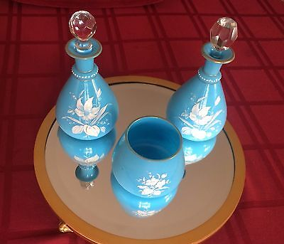 Opaline Glass Hand-Painted 3 Piece Set