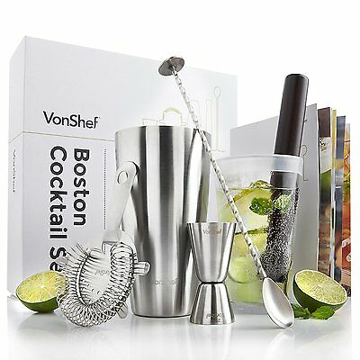 Premium Boston Cocktail Set Stainless Steel 550ml Shaker & Glass With Silicone R