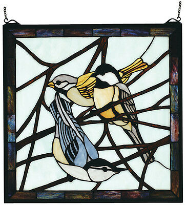 """Meyda 68387 18""""WX18""""H Early Morning Visitors Stained Glass Window Panel"""