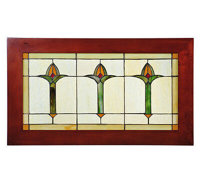 "Meyda 97961 24""W X 14""H Bud Trio Wood Frame Stained Glass Window Panel"
