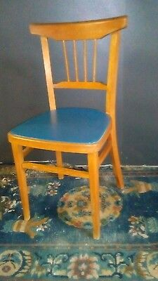 1950s Mid Century Blue Vinyl Chair