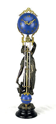 Beautiful Ansonia Cut 8 Day Movement Brass Huntress Lady Mystery Swinger Clock
