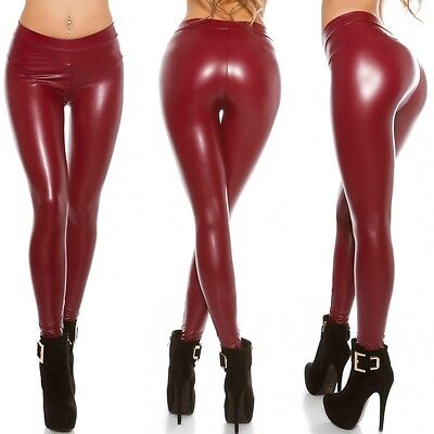 Sexy Women's clubbing party Leather look leggings Dark Red One Size UK 10/12