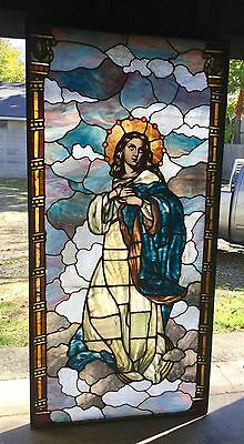 Large Stained Glass Figural Window With Drapery