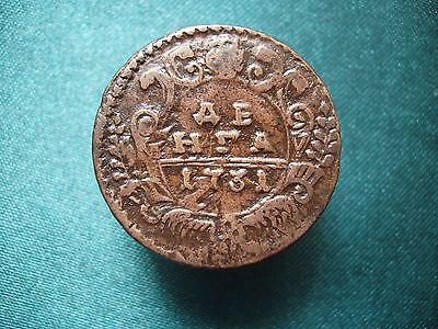 Copper Coin Denga 1731.  Anna Ioanovna.  Russian Empire!