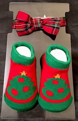 Christmas Tree Booties & Plaid  Bow Tie by Baby Essentials - size 0-6 Month
