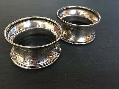 Antique Solid Silver Pair Napkin Serviette Rings Of Plain 2 Two Curved Form