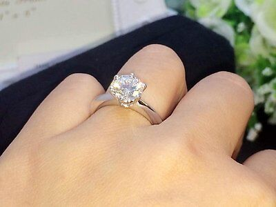 Solitaire Round Cut Brilliant Engagement Ring 14k Solid Silver White Gold Finish
