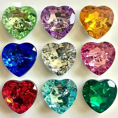 6 Sparkly Acrylic Crystal Heart Buttons - 3 Sizes and Many Colours