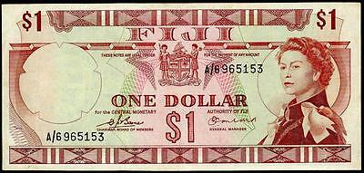 FIJI 1 ( ONE ) DOLLAR 1974 P#63a Signatures Barnes & Earland VF BANKNOTE
