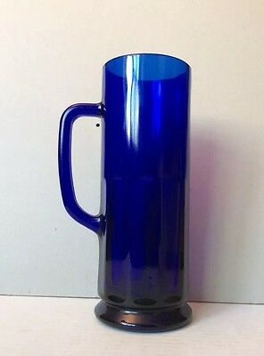 Vintage Beautiful Cobalt Blue Thick & Heavy Glass - Mug 8 1/4 in. Tall, 16oz.