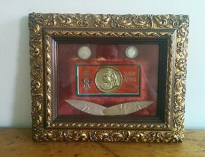 Queen Victoria 1900 Boer War Chocolate Tin Two 2 1/2 1897 Shilling Coins Framed