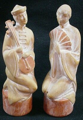 Pair of Vintage chalkware Asian statues by  KUPUR