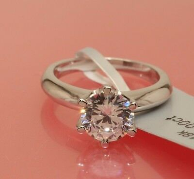 1.5 CT ROUND CUT DIAMOND SOLITAIRE ENGAGEMENT RING WHITE GOLD Finish Size 7.5