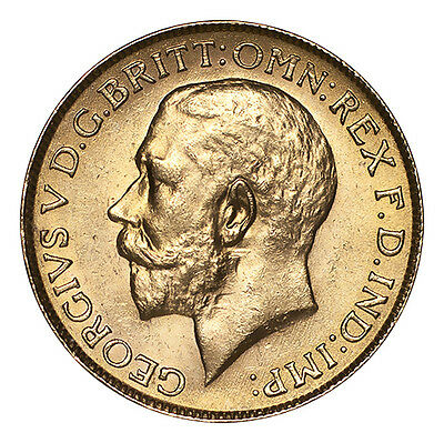 India Gold Coin George V 1918-I Gold Sovereign UNC