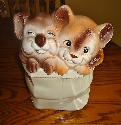THE MOST ADORABLE VINTAGE KOALA & BABY BEAR COOKIE JAR Made in JAPAN GREAT COLOR
