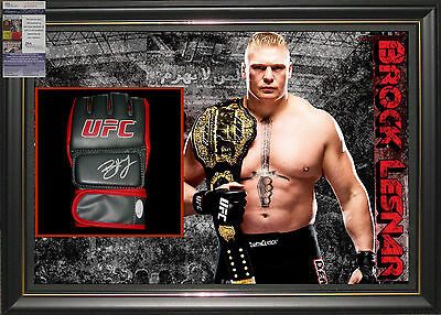 Brock Lesnar Ufc Signed Framed Glove Jsa James Spence Authenticated #n17371