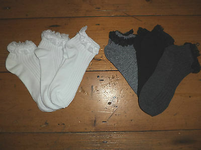3 Pairs Frilly Lace Top Ankle Socks Black Grey White Womens 4 - 8 New Primark