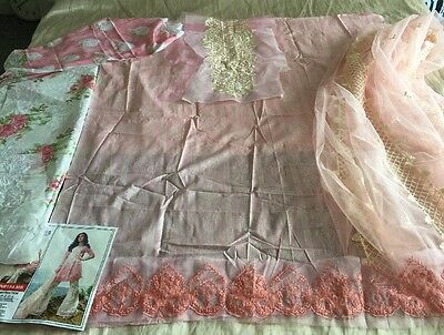Pakistani Embrioded LAWN Suit Maria B Inspired SHALWAR KAMEEZ , Net Dupatta Asia