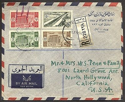 Lebanon Liban 1954 registered Airmail cover to North Hollywood Calif