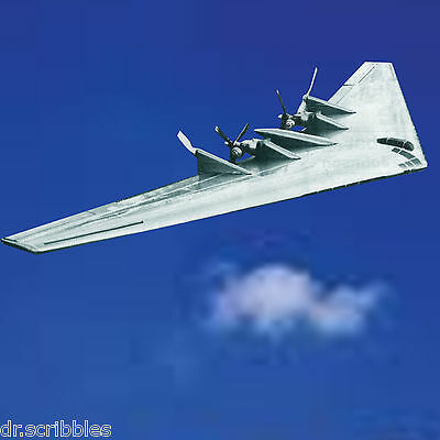 """CONTROLINE MODEL AIRPLANE PLAN 47"""" two .049 NORTHROP XB 35 FLYING Wing & Article"""