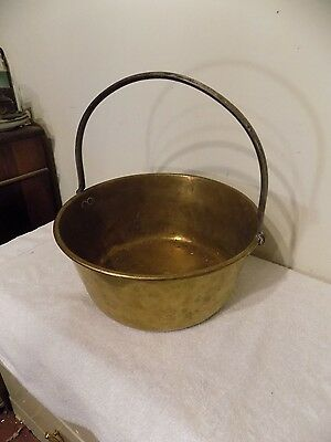 """Antique 14"""" Copper Or Brass Cooking Pot Kettle Cauldron W/ Wrought Iron Handle"""