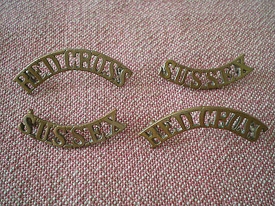 WW1 Pair of British SUSSEX RED CROSS SHOULDER TITLE BADGES