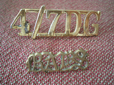 1920s 4/7 DRAGOON GUARDS & QUEEN'S BAYS OFFICERS SHOULDER TITLE BADGES